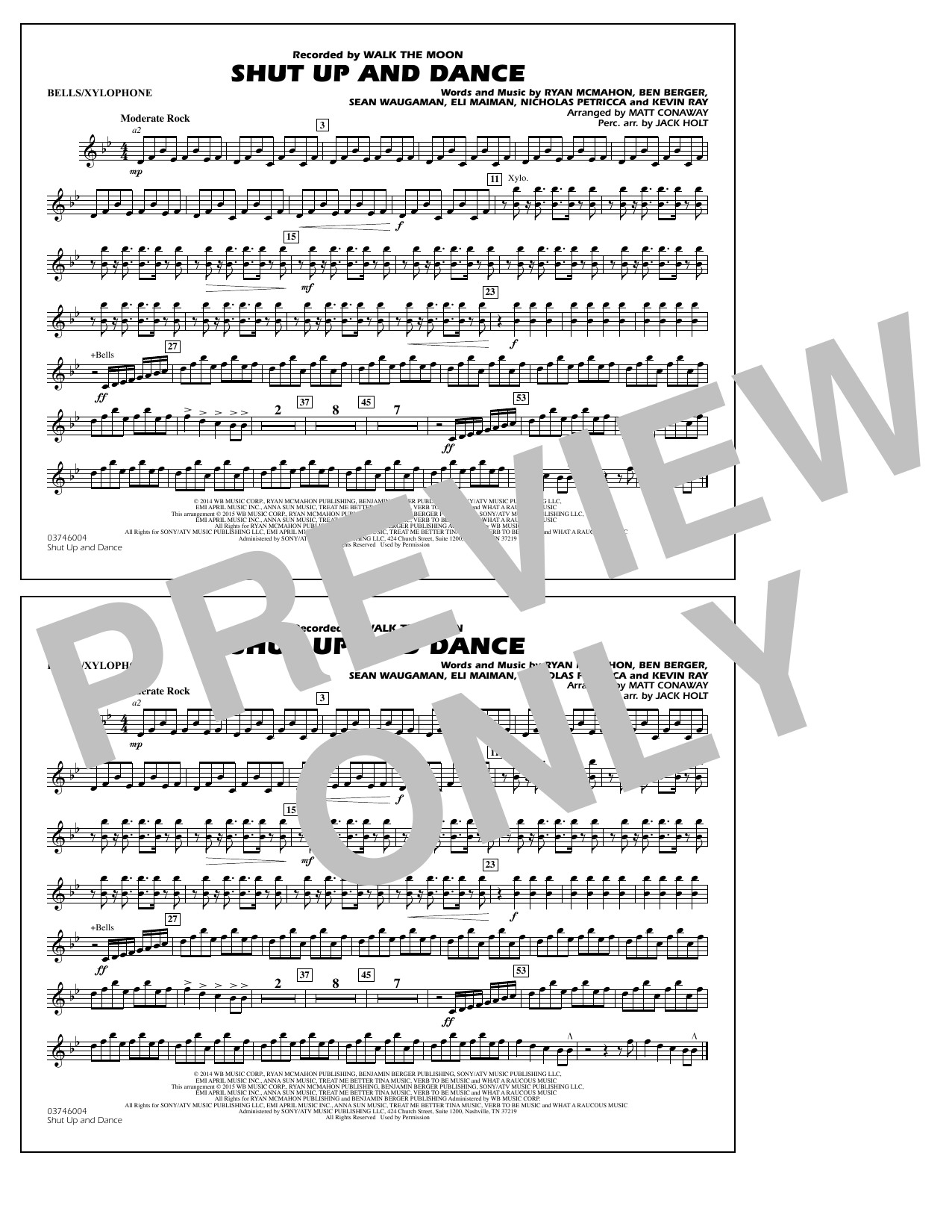 Walk The Moon Shut Up and Dance (Arr. Matt Conaway) - Bells/Xylophone sheet music notes and chords. Download Printable PDF.