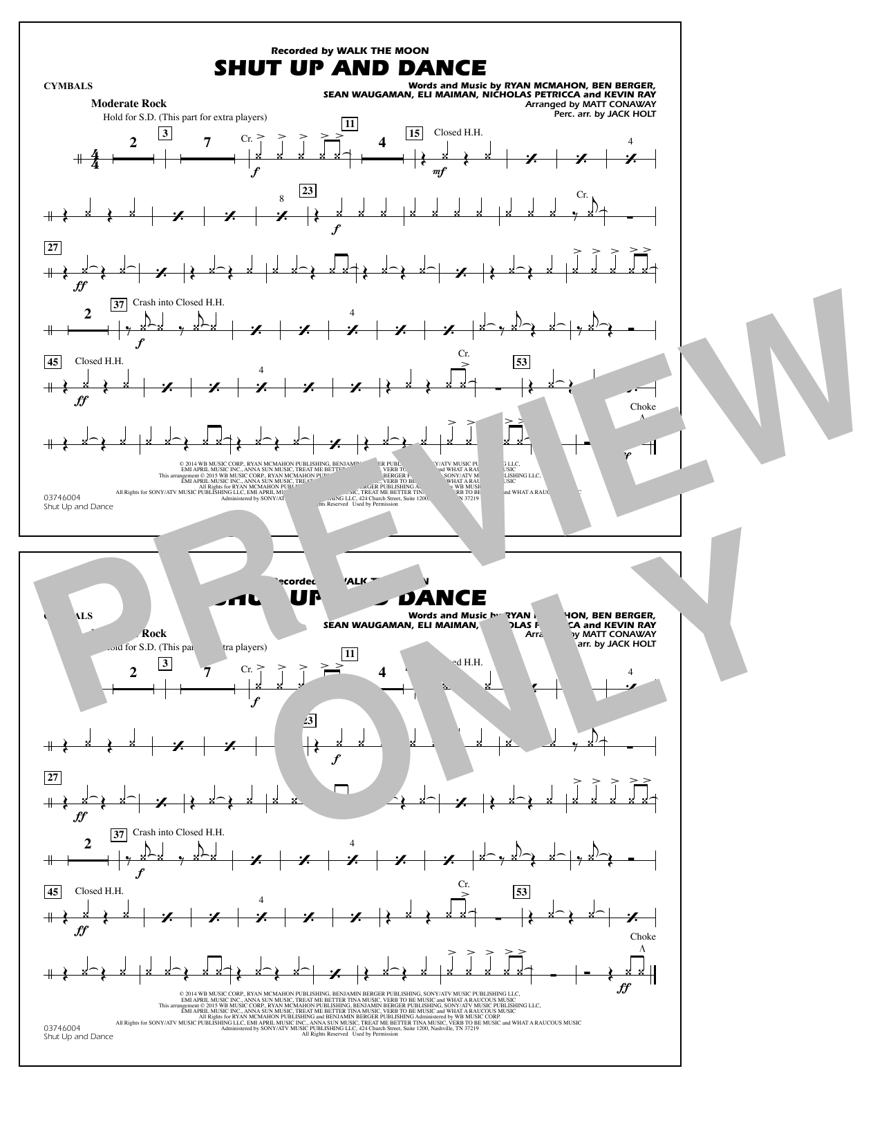 Walk The Moon Shut Up and Dance (Arr. Matt Conaway) - Cymbals sheet music notes and chords