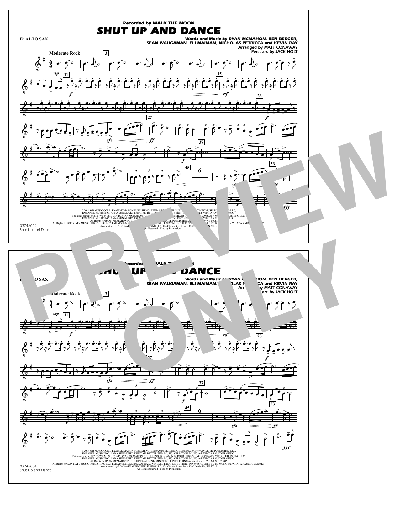 Walk The Moon Shut Up and Dance (Arr. Matt Conaway) - Eb Alto Sax sheet music notes and chords. Download Printable PDF.
