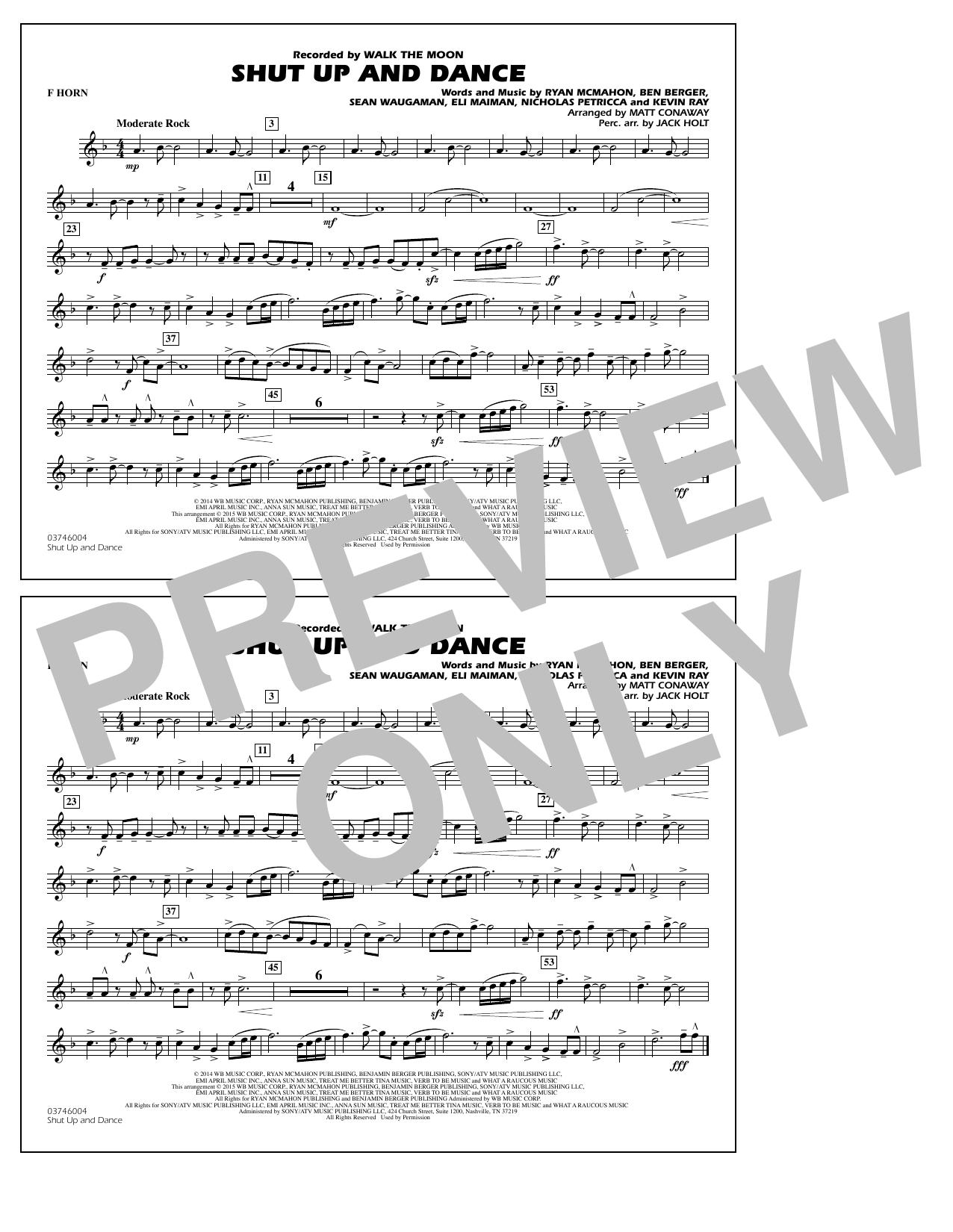 Walk The Moon Shut Up and Dance (Arr. Matt Conaway) - F Horn sheet music notes and chords