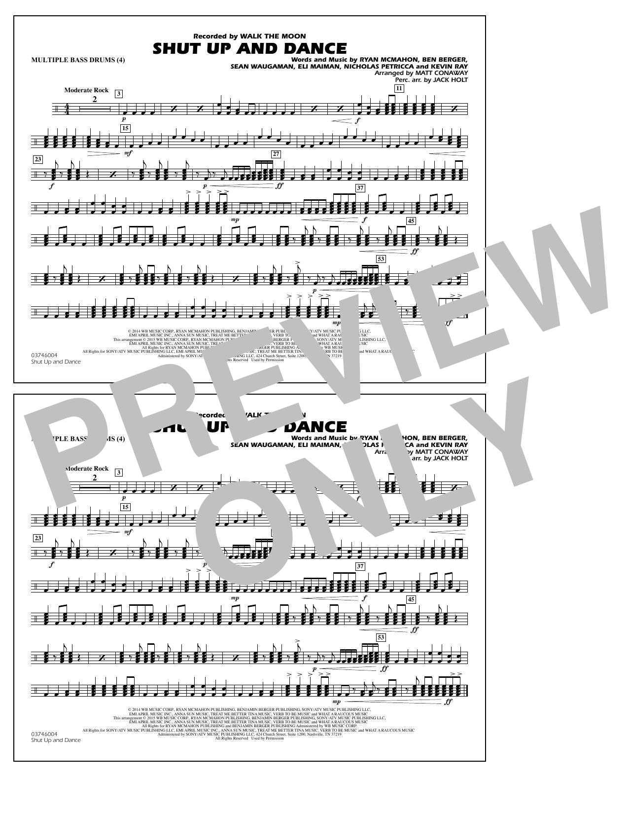 Walk The Moon Shut Up and Dance (Arr. Matt Conaway) - Multiple Bass Drums sheet music notes and chords