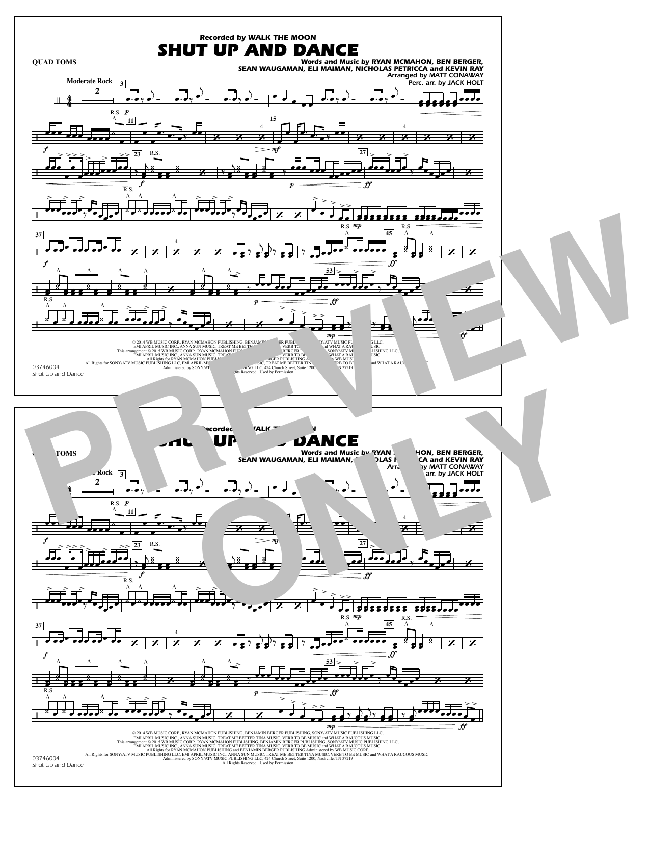 Walk The Moon Shut Up and Dance (Arr. Matt Conaway) - Quad Toms sheet music notes and chords