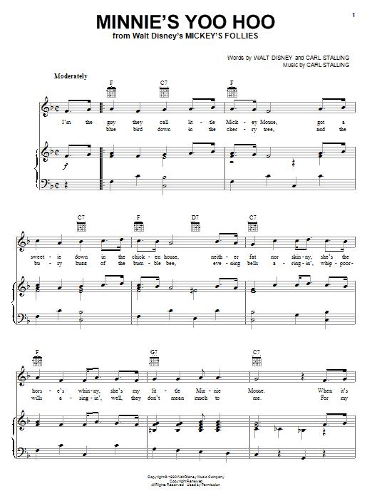 Walt Disney Minnie's Yoo Hoo sheet music notes and chords. Download Printable PDF.