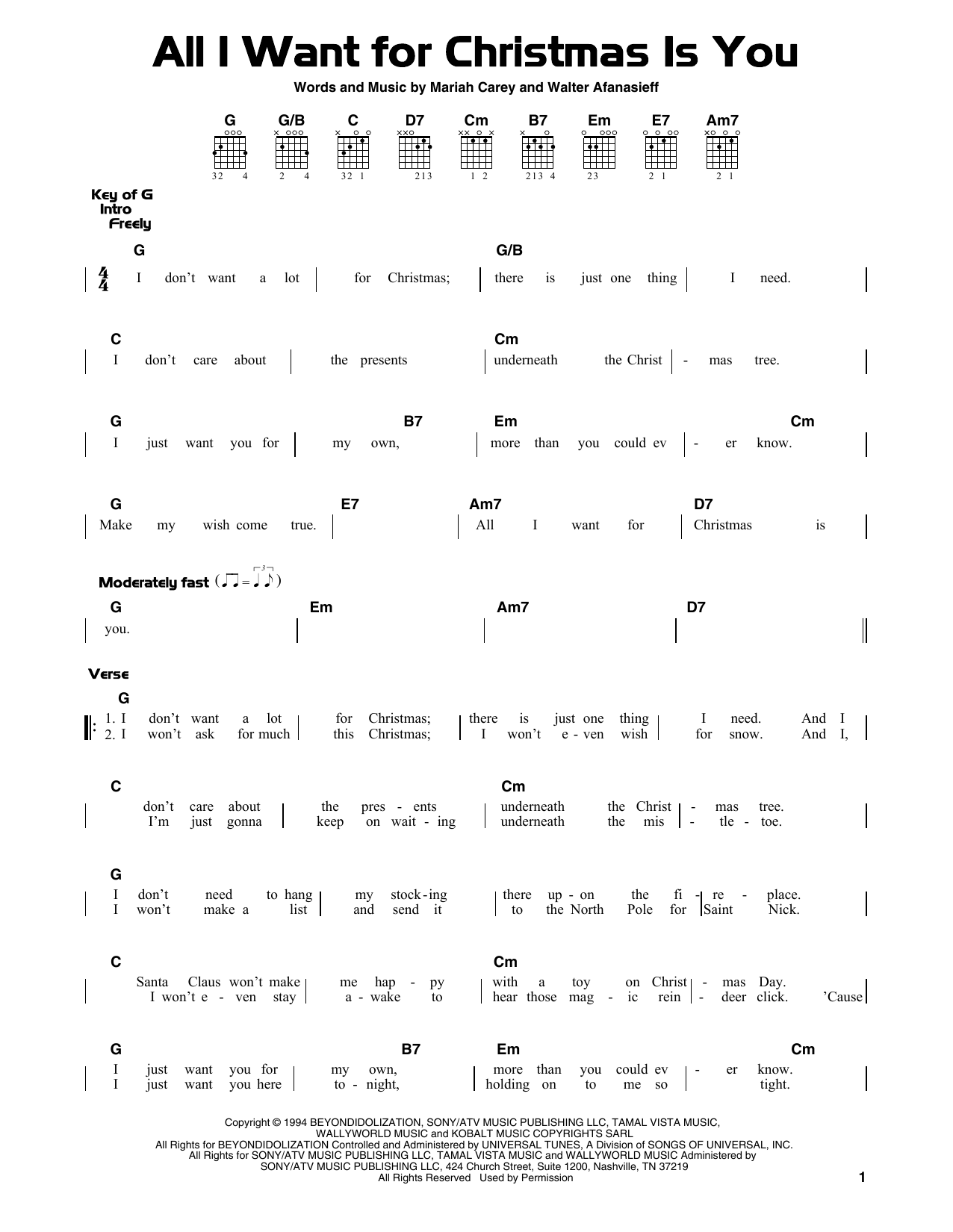 Walter Afanasieff 'All I Want For Christmas Is You' Sheet Music Notes,  Chords | Download Printable Guitar Lead Sheet - SKU: 189864