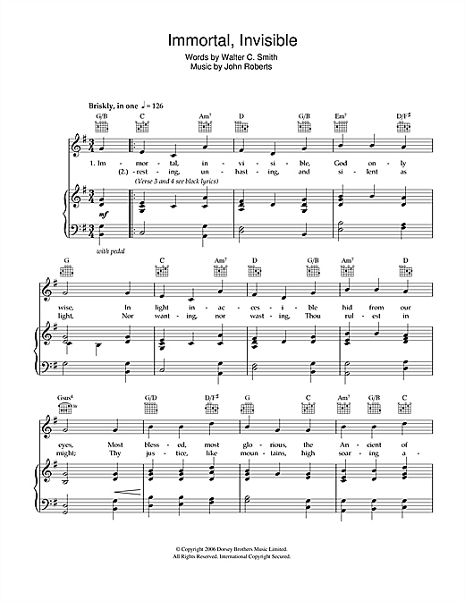 Walter C. Smith Immortal, Invisible sheet music notes and chords