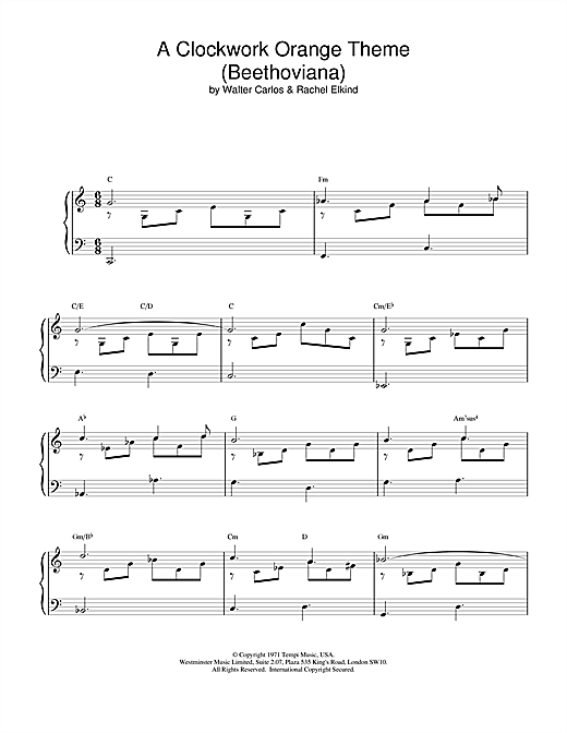 Walter Carlos A Clockwork Orange Theme (Beethoviana) sheet music notes and chords