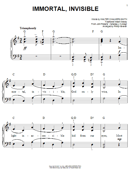 Walter C. Smith Immortal, Invisible sheet music notes and chords. Download Printable PDF.