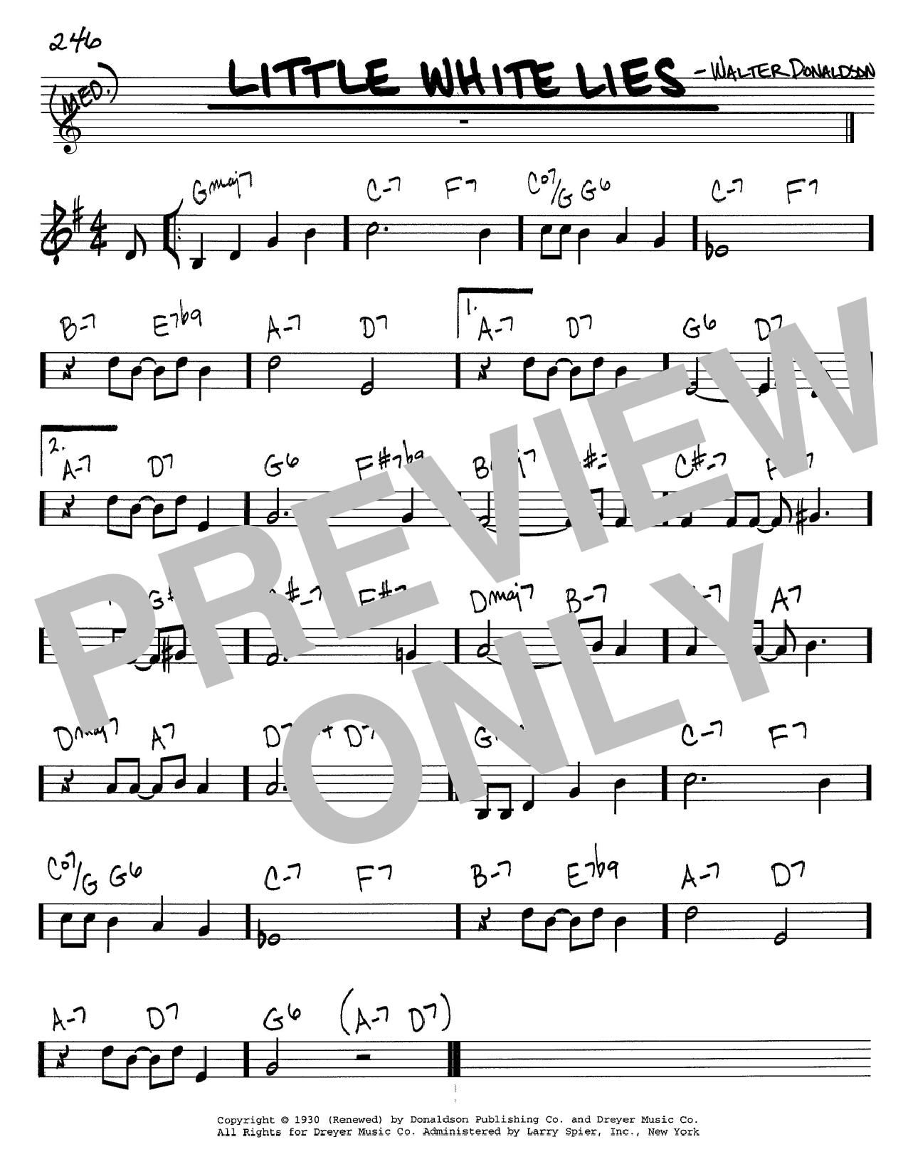 Walter Donaldson Little White Lies sheet music notes and chords. Download Printable PDF.