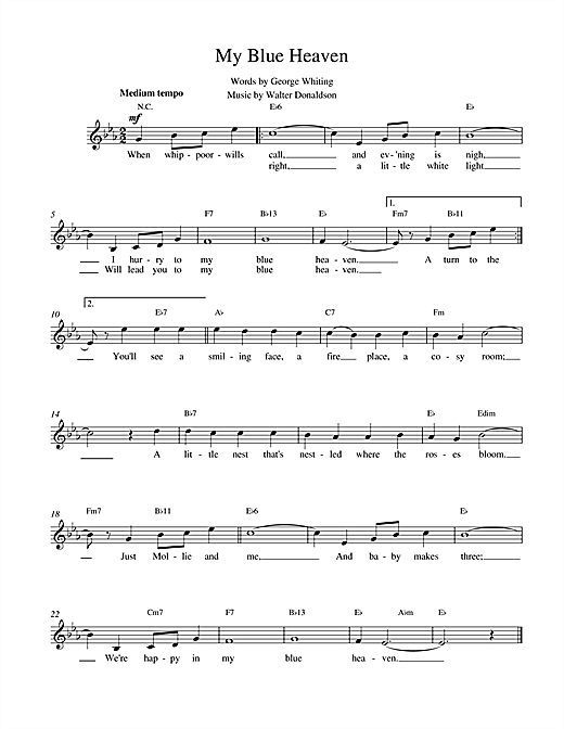 Walter Donaldson My Blue Heaven sheet music notes and chords