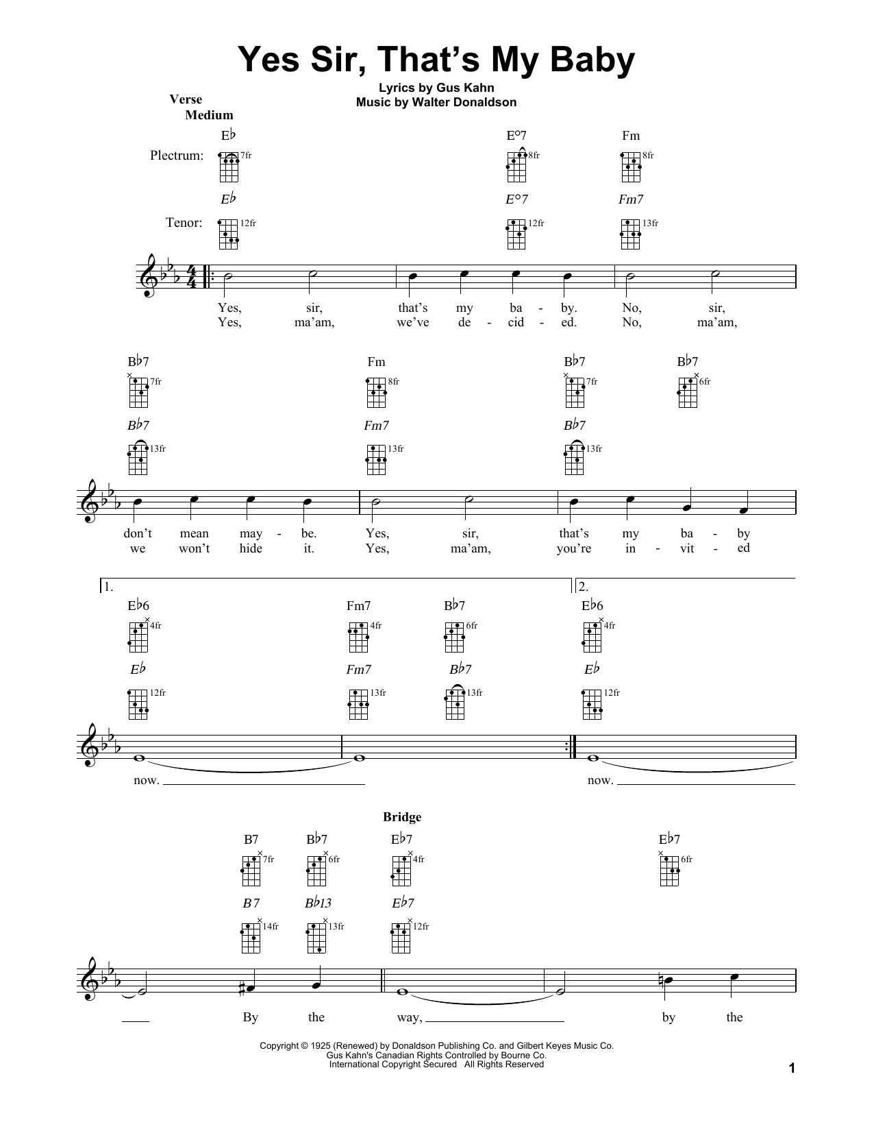 Walter Donaldson Yes Sir, That's My Baby sheet music notes and chords. Download Printable PDF.