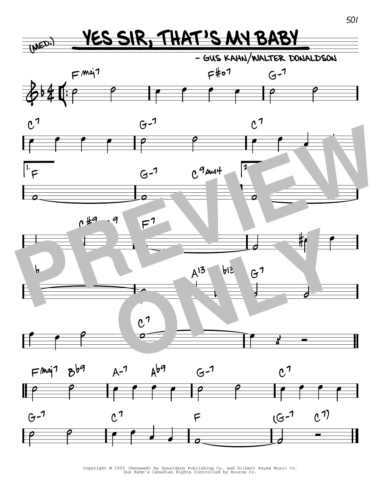 Walter Donaldson and Gus Kahn Yes Sir, That's My Baby sheet music notes and chords. Download Printable PDF.