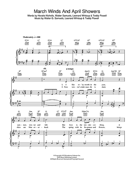 Walter G. Samuels March Winds And April Showers sheet music notes and chords. Download Printable PDF.
