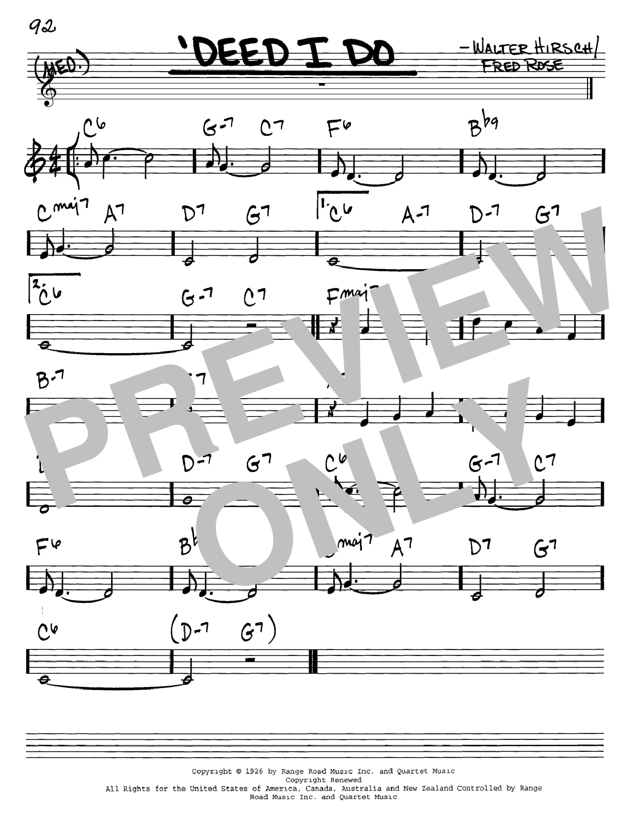 Walter Hirsch 'Deed I Do sheet music notes and chords. Download Printable PDF.