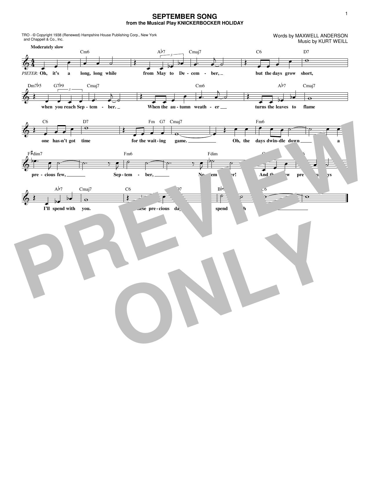 Walter Huston September Song (from Knickerbocker Holiday) sheet music notes and chords