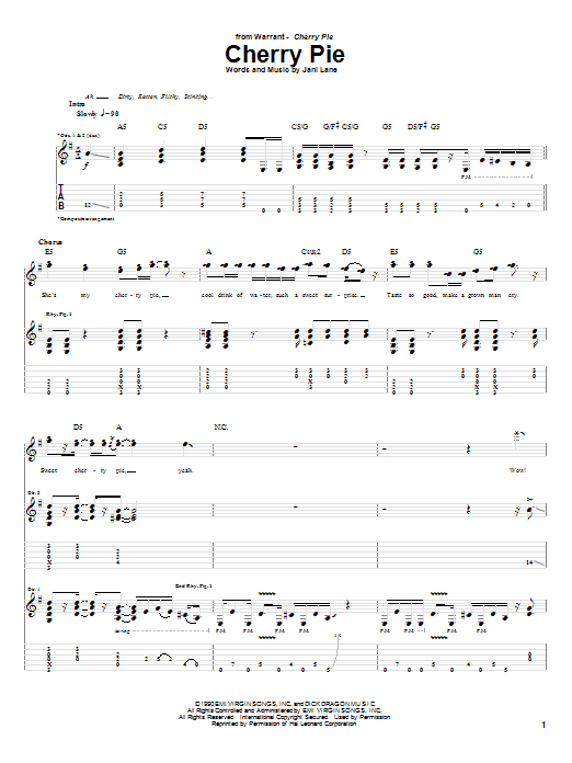 Warrant Cherry Pie sheet music notes and chords. Download Printable PDF.