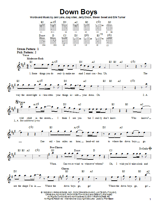 Warrant Down Boys sheet music notes and chords. Download Printable PDF.
