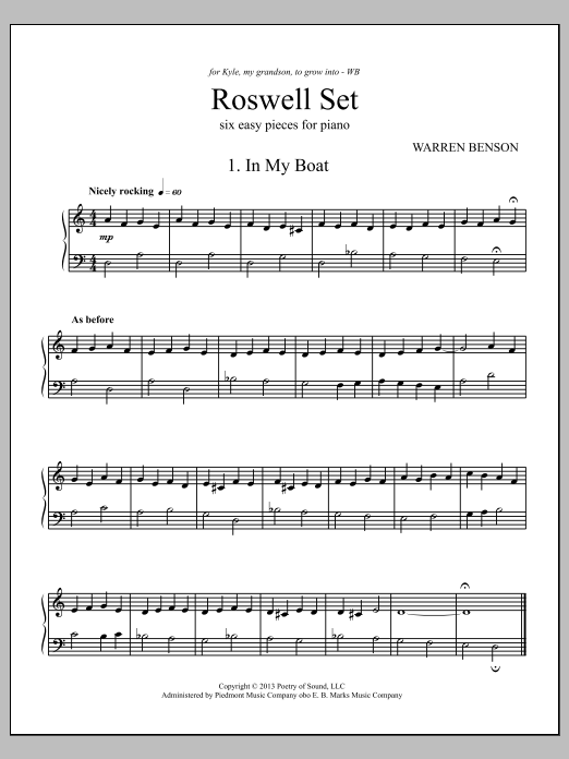 Warren Benson Roswell Set sheet music notes and chords. Download Printable PDF.