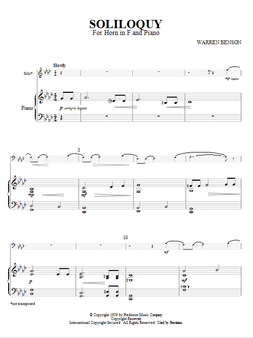 Warren Benson Soliloquy For Horn In F And Piano sheet music notes and chords. Download Printable PDF.