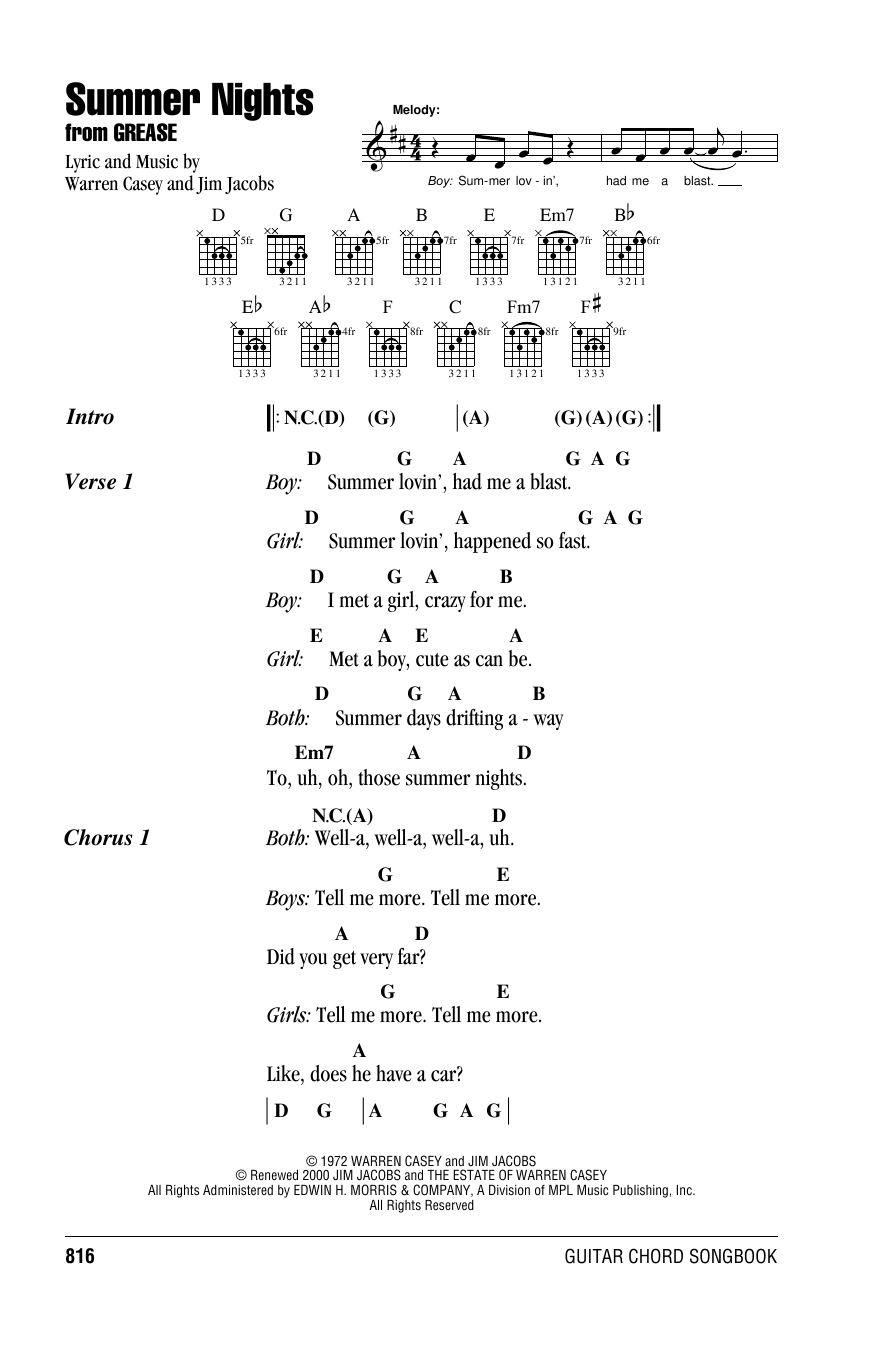 Warren Casey Summer Nights sheet music notes and chords. Download Printable PDF.