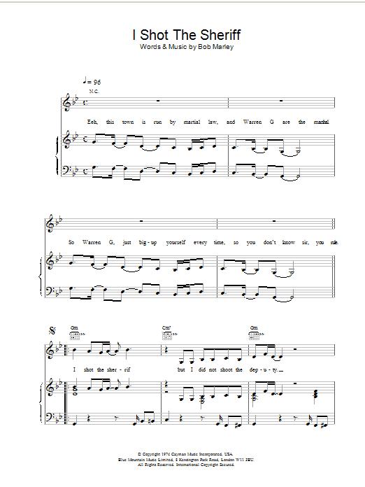 Bob Marley I Shot The Sherrif sheet music notes and chords. Download Printable PDF.