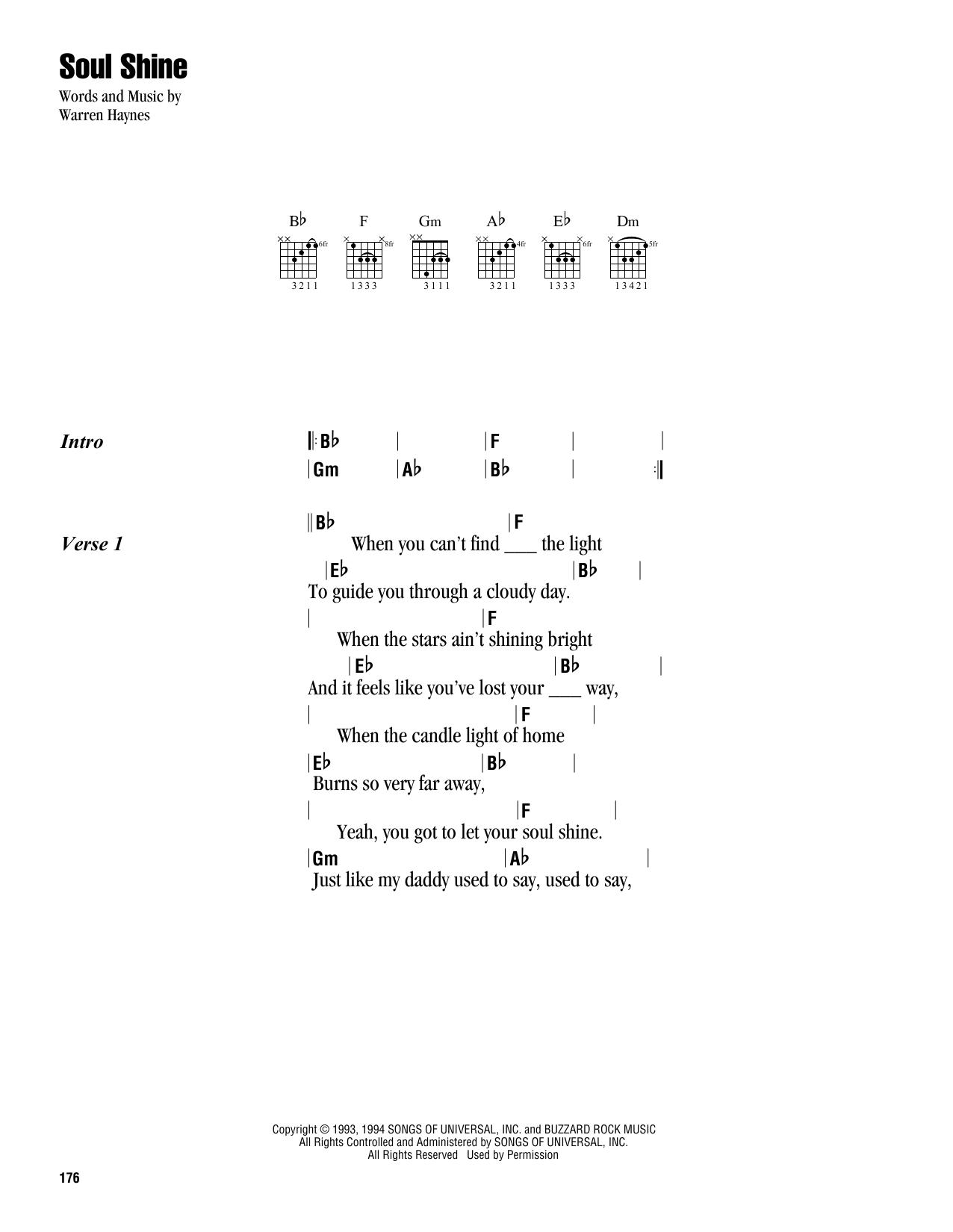 Warren Haynes Soul Shine sheet music notes and chords. Download Printable PDF.