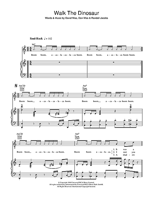 Was (Not Was) Walk The Dinosaur sheet music notes and chords. Download Printable PDF.
