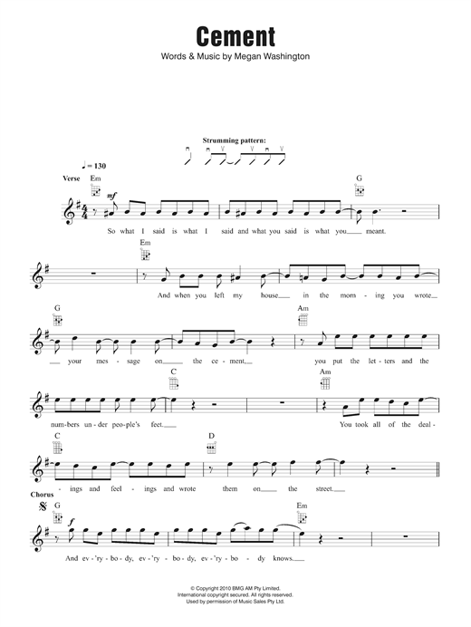 Washington Cement sheet music notes and chords. Download Printable PDF.