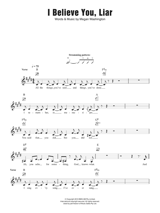 Washington I Believe You Liar sheet music notes and chords. Download Printable PDF.