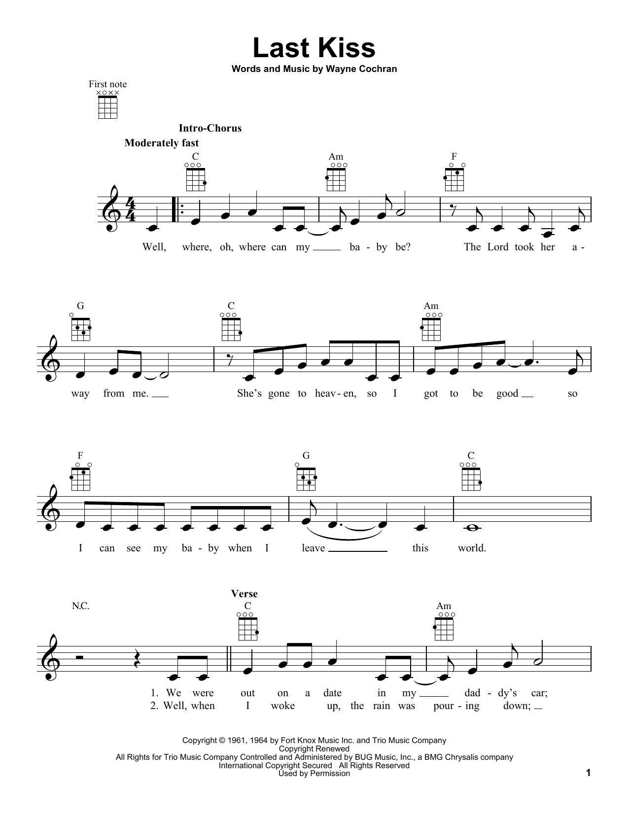 Wayne Cochran Last Kiss sheet music notes and chords. Download Printable PDF.