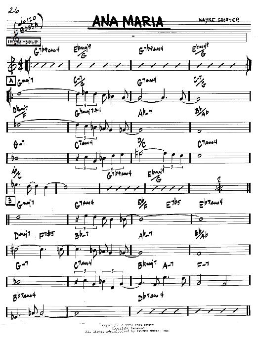 Wayne Shorter Ana Maria sheet music notes and chords