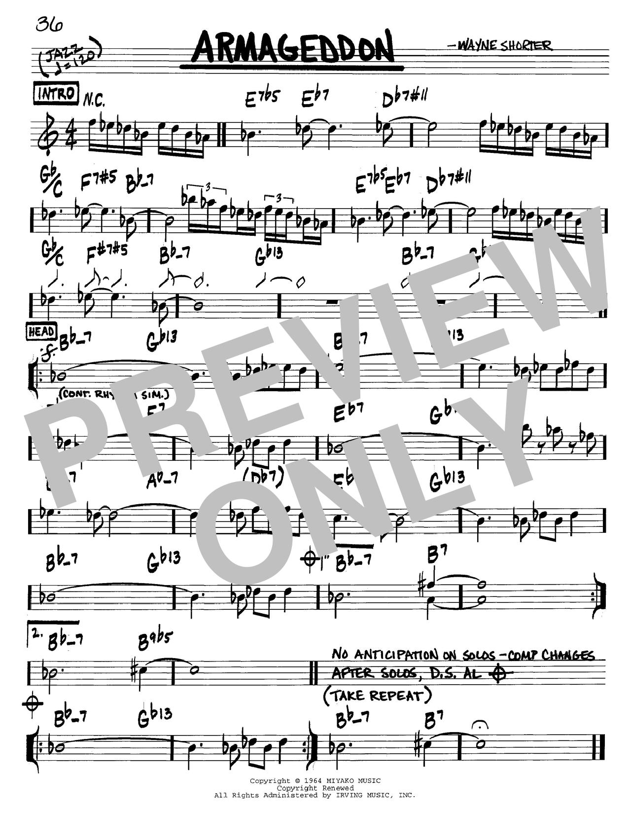 Wayne Shorter Armageddon sheet music notes and chords. Download Printable PDF.