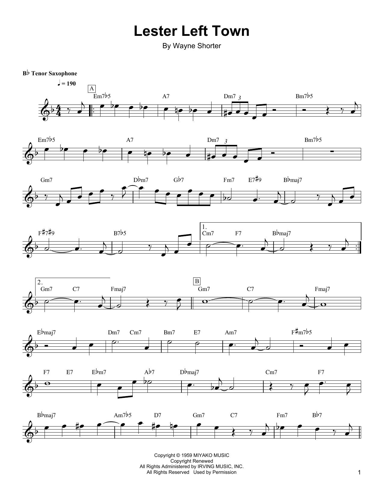 Wayne Shorter Lester Left Town sheet music notes and chords. Download Printable PDF.