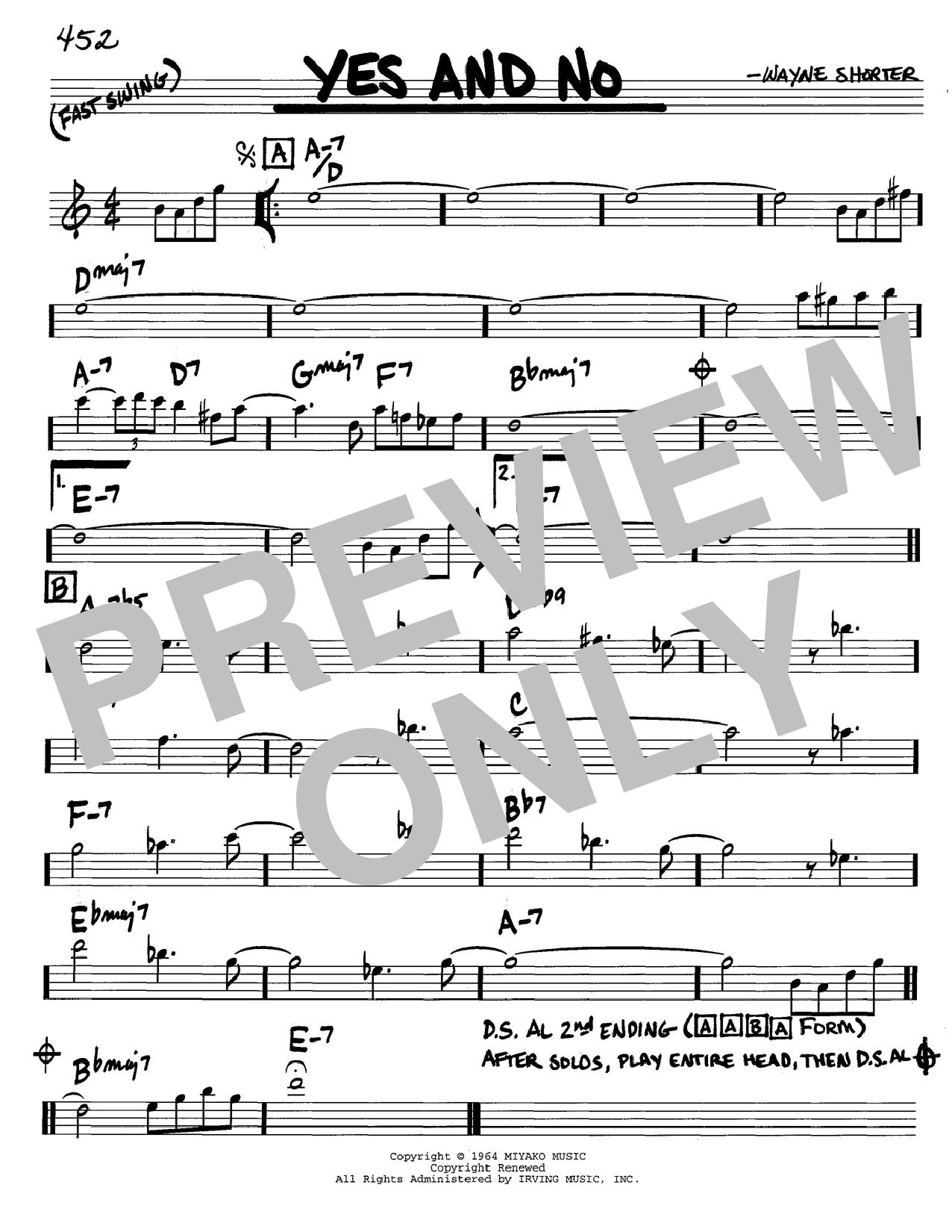 Wayne Shorter Yes And No Sheet Music Notes, Chords   Download Printable  Real Book – Melody & Chords – Eb Instruments PDF Score   SKU 15