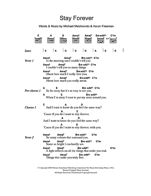 Ween Stay Forever sheet music notes and chords. Download Printable PDF.