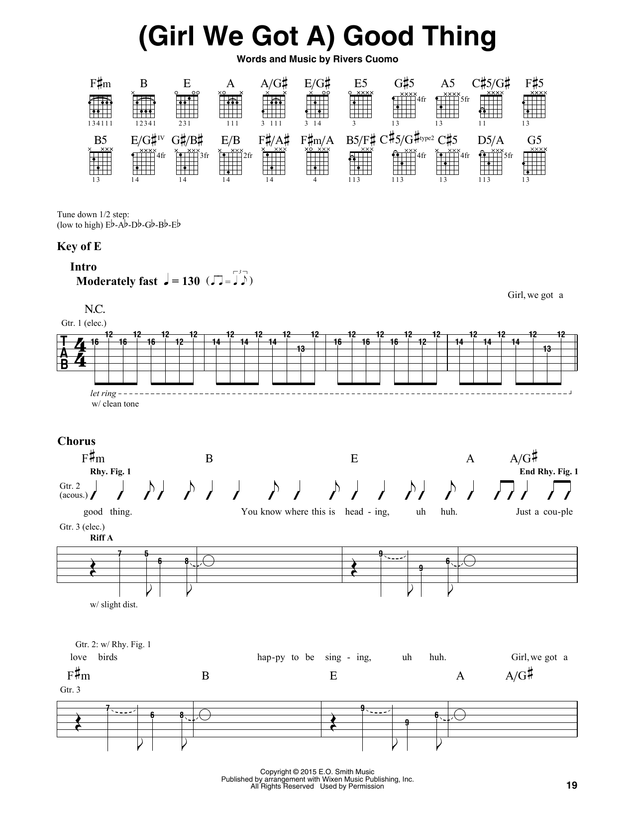 Weezer (Girl We Got A) Good Thing sheet music notes and chords. Download Printable PDF.
