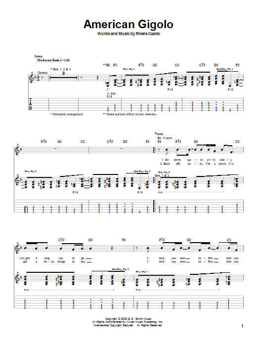 Weezer American Gigolo sheet music notes and chords. Download Printable PDF.