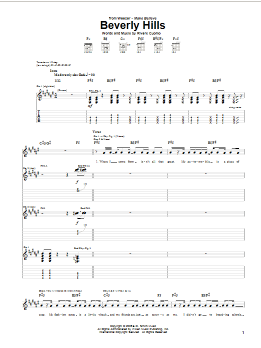 Weezer Beverly Hills sheet music notes and chords. Download Printable PDF.