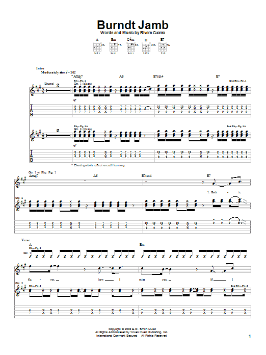 Weezer Burndt Jamb sheet music notes and chords. Download Printable PDF.