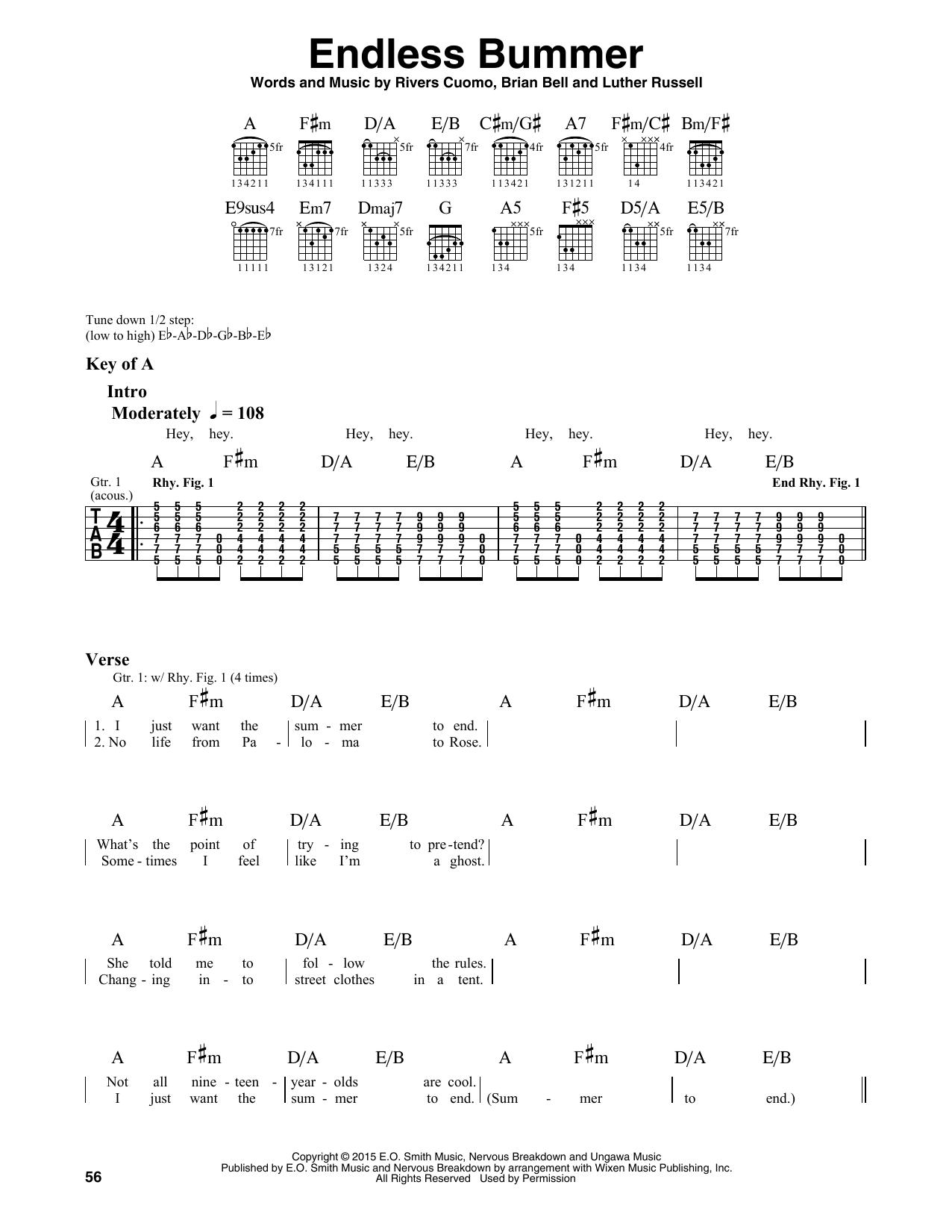 Weezer Endless Bummer sheet music notes and chords