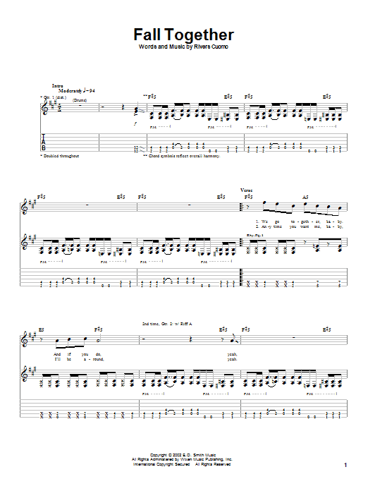 Weezer Fall Together sheet music notes and chords. Download Printable PDF.