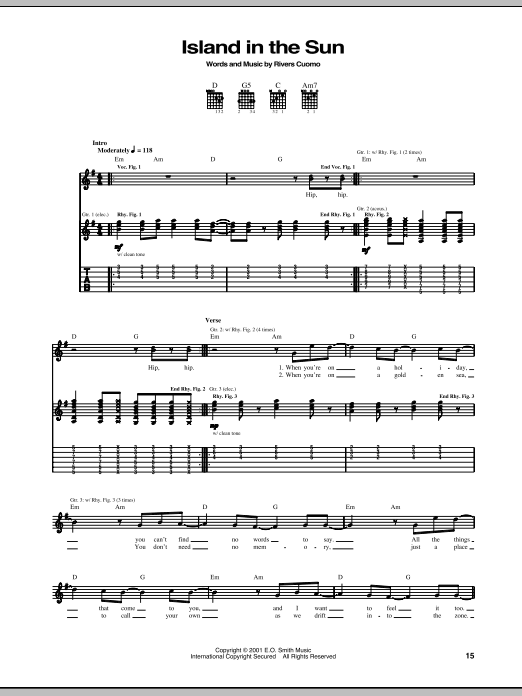 Weezer Island In The Sun sheet music notes and chords. Download Printable PDF.