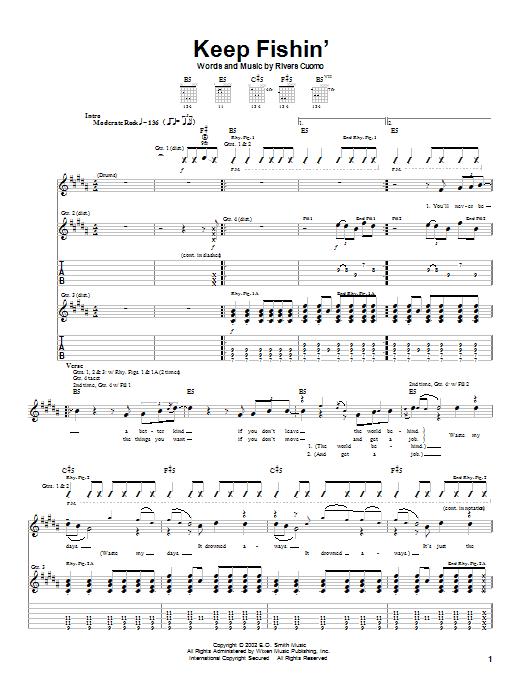 Weezer Keep Fishin' sheet music notes and chords. Download Printable PDF.