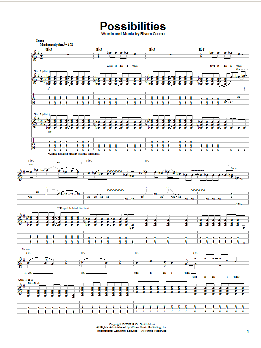 Weezer Possibilities sheet music notes and chords. Download Printable PDF.