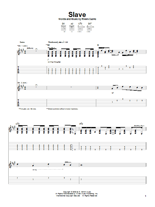 Weezer Slave sheet music notes and chords. Download Printable PDF.