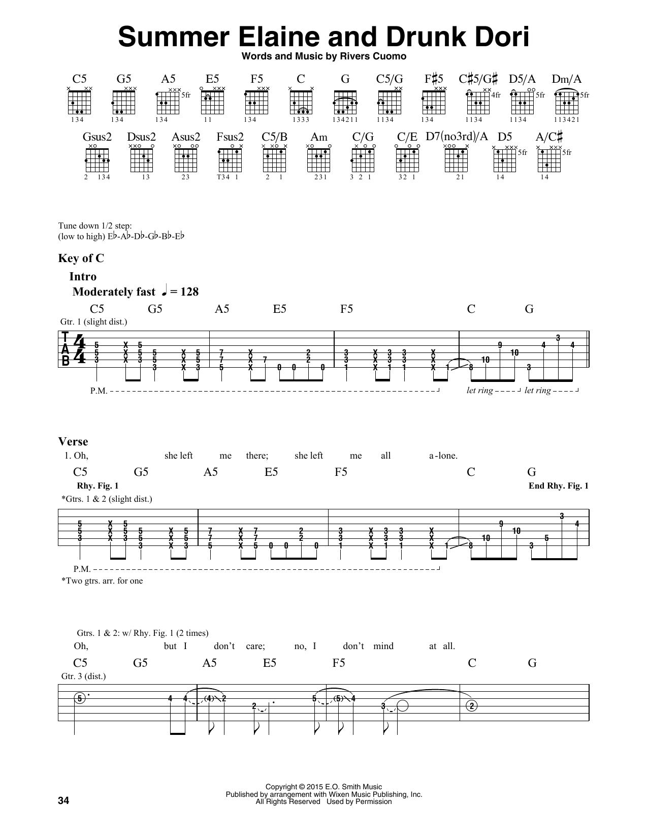 Weezer Summer Elaine And Drunk Dori sheet music notes and chords