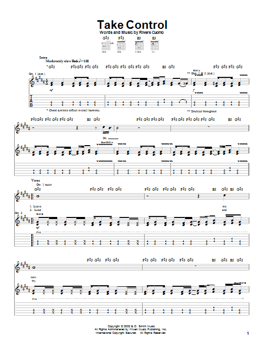 Weezer Take Control sheet music notes and chords