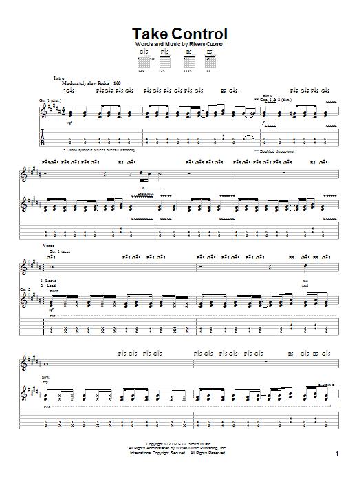 Weezer Take Control sheet music notes and chords. Download Printable PDF.