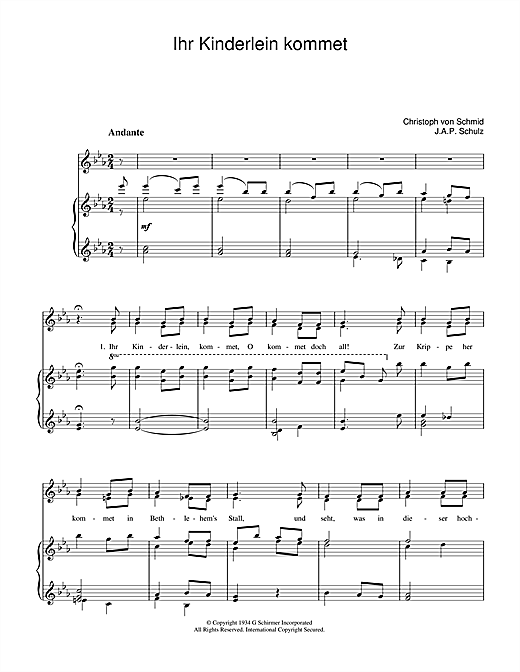 Weihnachtslied Ihr Kinderlein Kommet sheet music notes and chords. Download Printable PDF.
