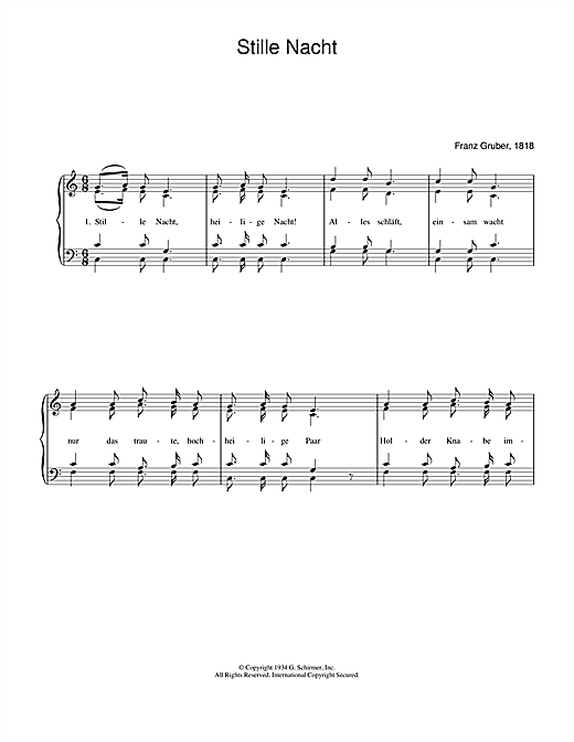 Weihnachtslied Stille Nacht sheet music notes and chords. Download Printable PDF.