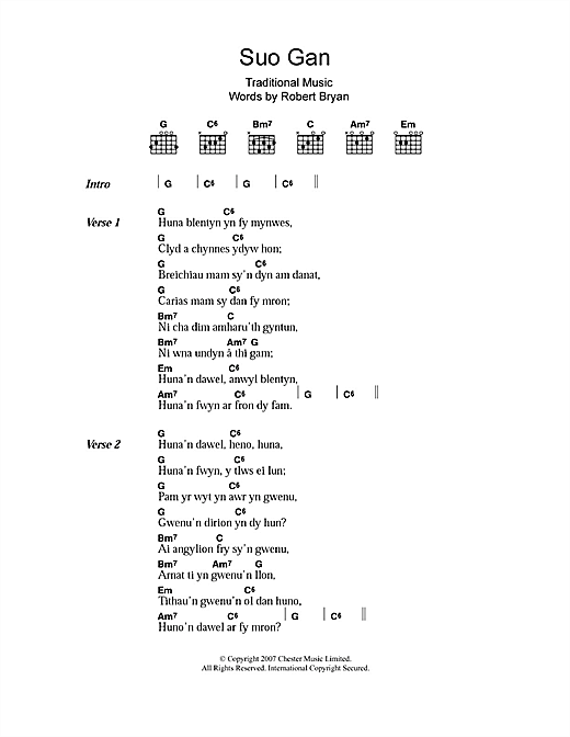 Welsh Folksong Suo Gan sheet music notes and chords. Download Printable PDF.